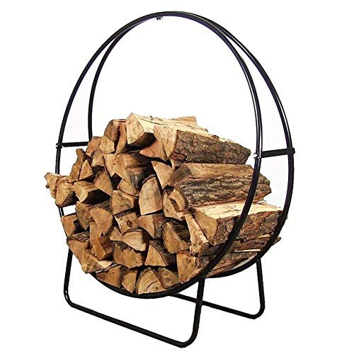 HWF Large Metal Wrought Iron Contemporary Round Log Basket Fireside Carrier Storage, for Indoor & Outdoor Fireplace Pit, 23 Inches (Color : Black)