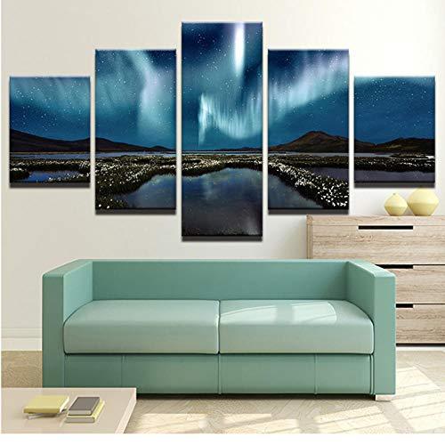Wuyii Muurfoto's, canvas, frame, HD, bedrukt, 5 panelen, bergen en platen, Aurora landschap, foto, voor slaapkamer decoratie 20x35cmx2/20x45cmx2/20x55cmx1