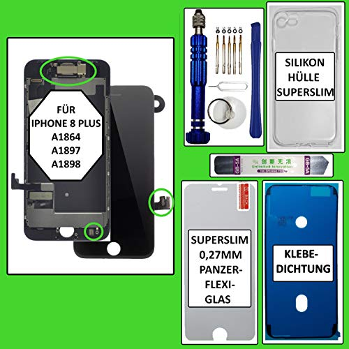 Phonepoint24 Pantalla para iPhone 8 Plus, pantalla Retina HD 3D, pantalla táctil de retina, color negro