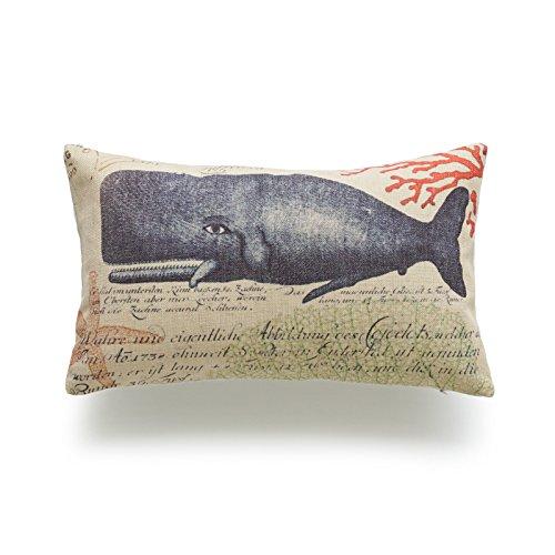 "Hofdeco Decorative Lumbar Pillow Cover HEAVY WEIGHT Cotton Linen Vintage Caribbean Sea Life Nautical Whale 12""x20"" 30cm x 50cm Set of 2"