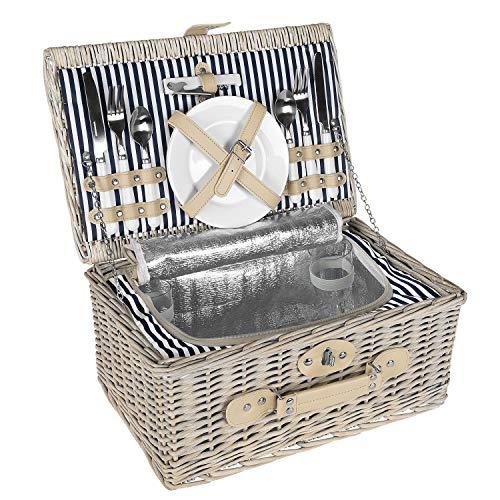 anndora Picknickkorb 2 Personen Weidenkorb mit Kühlfach + Zubehör 11 TLG.