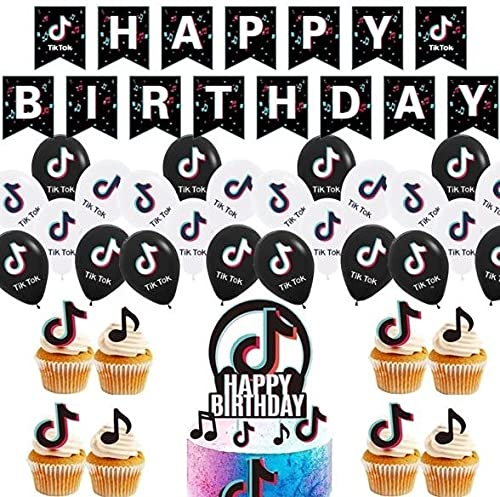 Decoracion cumpleaños Tik Tok, Globos de Cumpleaños tik tok, Decoracion de fiestas, Feliz Cumpleaños, Fiesta de Cumpleaños, Fiestas Infantiles, Adornos del Pastel, Fiesta Infantil, Cumpleaños