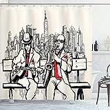 ABAKUHAUS Duschvorhang, Musikanten Gruppe Chor Straßen Musik Pariser Kunst Handgemalt Saxophon & Gitarre Design Druck, Wasser & Blickdicht aus Stoff mit 12 Ringen Schimmel Resistent, 175 X 200 cm