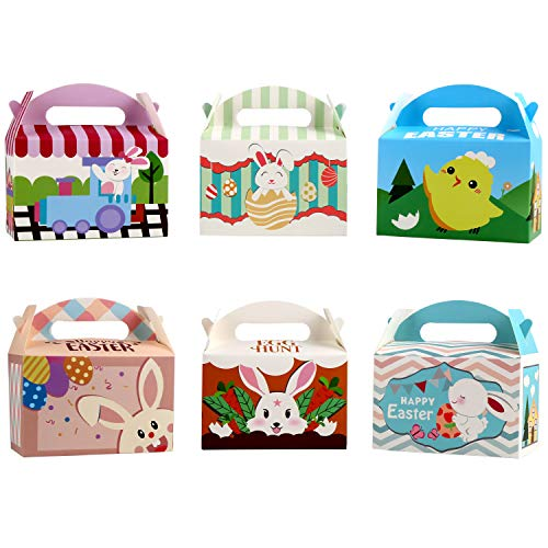 VEYLIN 24Pack Easter Treat Boxes, Cardboard Candy Container for Easter Party Favor
