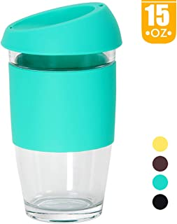 Smilatte 15 oz / 450ml Reusable Glass Coffee Cup, Portable Large Travel Mug with Silicone BPA Free Eco Lid Perfect for Home Office, Blue