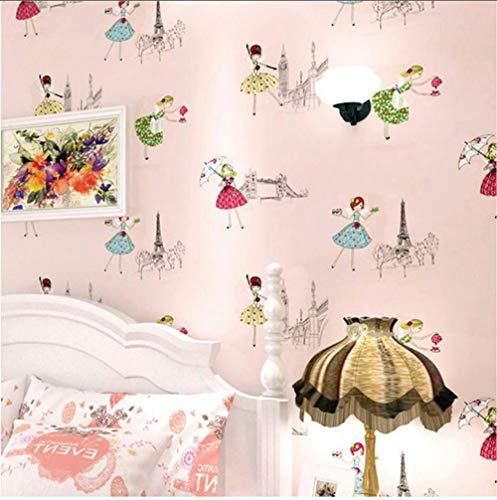 HD abstract canvas fabric Modern Cartoon Kid Wallpaper Children Room Wallpaper Roll 3D Pink Ballet Girl Princess Room Bedroom canvasWallpaper 280x200cm