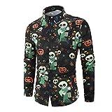 Camisas de Hombre Camisa de Manga Larga con Estampado de Calavera, Tema de Halloween Tops Botones de Solapa Blusa Dobladillo Suelto