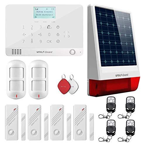 Wolf-Guard MR1-JD-W06 Sistema de alarma inalámbrico GSM y APP con PIR a prueba de mascotas, bocina solar externa, sistema de seguridad para el hogar con marcación automática