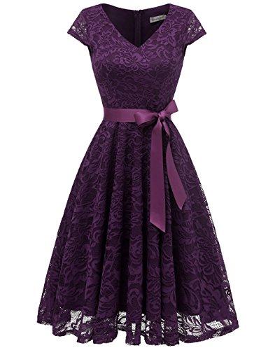 BeryLove Damen V-Ausschnitt Kurz Brautjungfer Kleid Cocktail Party Floral Kleid BLP7006GrapeS