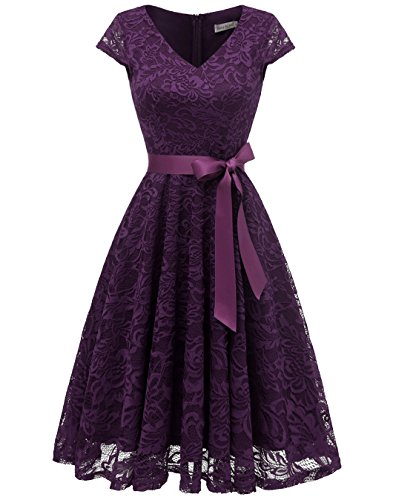 BeryLove Damen V-Ausschnitt Kurz Brautjungfer Kleid Cocktail Party Floral Kleid BLP7006GrapeS