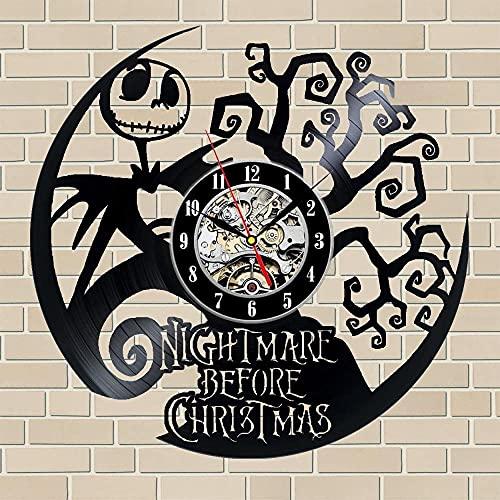 kkkjjj Pesadilla Antes de Navidad Reloj de Pared de Vinilo Decoración Negra Reloj de Pared de Vinilo Moderno Este Reloj Familiares y Amigos en Cualquier ocasión
