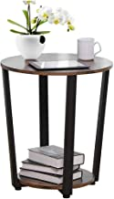"$32 » shamoluotuo Industrial End Table Round Chair Side Table Vintage Night Stand with Storage Shelf Corners Bedside Beside Cabinet for Living Room & Bedroom Office Use (Retro Brown, 19.7"")"