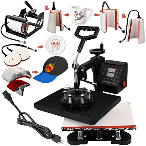 8 in 1 T-Shirt Heat Press Machine Hat Cap Mug Plate 12x10 Digital Multifunctional Sublimation Heat Transfer Printer Machine Swing-Away 360-degree Rotation