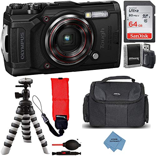 Olympus Tough TG-6 Digital Camera with Deluxe Accessory Bundle - Includes: SanDisk Ultra 64GB Memory Card + Flexible Tripod + Extreme Cloth + More (Black)…