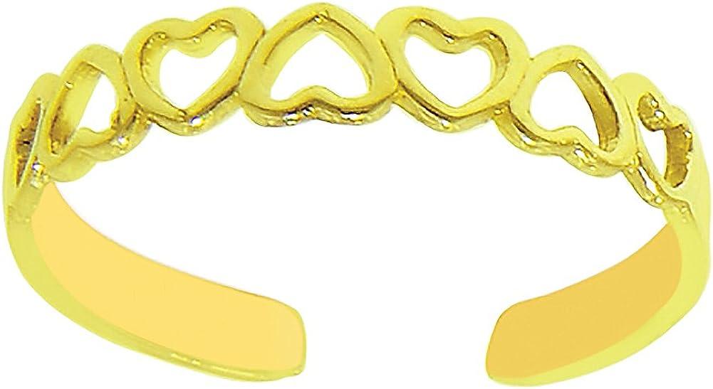 Ritastephens 14k Solid Gold Lite Heart Toe Ring Body Art Adjustable