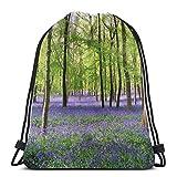 Yuanmeiju Purple Haze Bluebell Wood Drawstring Backpack Bag Lightweight Gym Travel Yoga Casual Snackpack Shoulder Bag for Hiking Swimming Beach