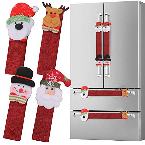 Refrigerator Door Handle Covers Set of 8, Christmas New Year Thanksgiving Decorations Handle Cover Santa Snowman Kitchen Appliance Covers Fridge Dishwasher Door Handle Covers Protector