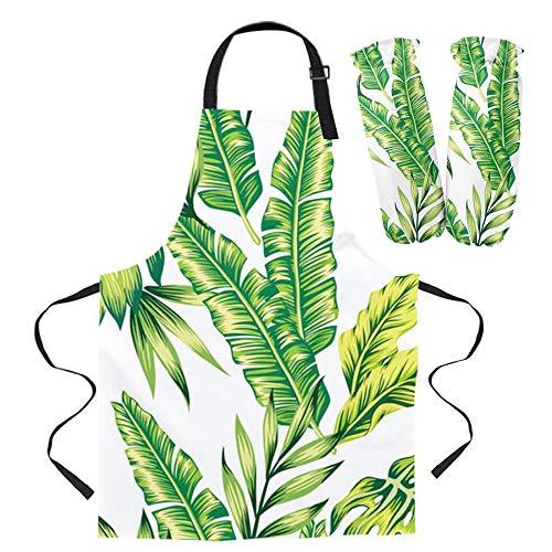 Coner banaan blad groen wit verse vrouwen schort korte volwassen kinder schort manchet ovenwanten keuken bakken koken accessoires, 1 paar volwassen manchet