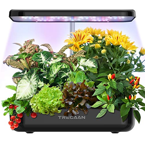 Hydroponic Growing System 12 Pods Home Garden Kit Indoor, Trecaan Smart Herb Garden Growing Kit with Grow Lights Gardening Gifts for Women Mom