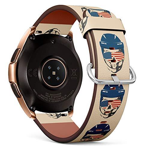 R-Rong kompatibel Watch Armband, Echtes Leder Uhrenarmband f¨¹r Samsung Galaxy Watch 42MM - Ice Hockey Skull with Sunglasses Textured by Flag of USA