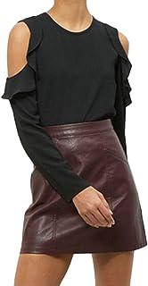 FRPE Womens Off Shoulder Casual Chiffon Plus Size Long Sleeve T-Shirt Top Blouse