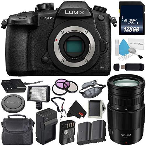 Panasonic Lumix DC-GH5 Mirrorless Micro Four Thirds Digital Camera (Body Only) + Panasonic Lumix G Vario 100-300mm f/4-5.6 II Power O.I.S. Lens Bundle