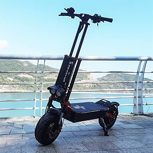HTRTH Scooter eléctrico de la Rueda de Grasa de 13 Pulgadas con un Motor Potente 60V 5600W para Adultos E Scooter 819 (Color : Black)