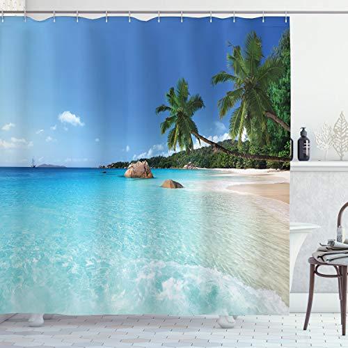 Ambesonne Ocean Shower Curtain, ANSE Lazio Beach at Praslin Island Surfing Beach Scenic View, Cloth Fabric Bathroom Decor Set with Hooks, 70 Long, Blue Turquoise