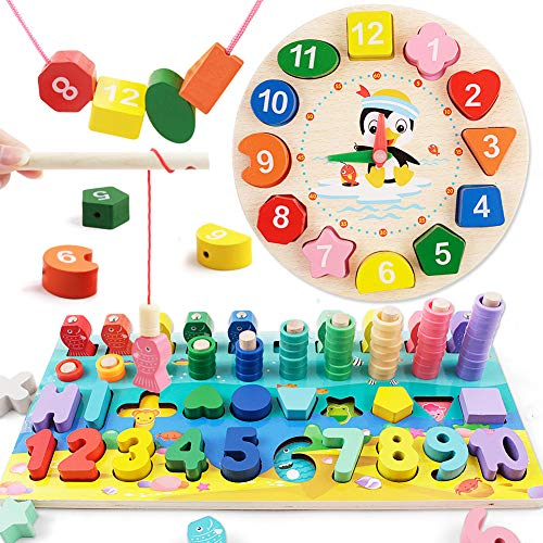 Wooden Shape Color Sorting Clock and Counting Board for Toddler, Sorting Early Education Wooden Blocks Puzzle Gift for Kids Age 3-6 Boys Girls