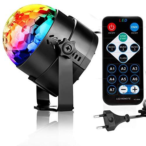 NewPI Disco Ball Party Disco Licht LED Beleuchtung Disco Lichter mit Fernbedienung, Disco-Lichter LED Bühnenlichter, rotierender Kristall, 7 Farben RGB DJ-Licht mit 3 W