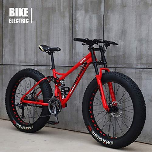 Bicycle 26 Inch MTB Top, Fat Wheel Motorbike/Fat Bike/Fat Tire Mountain Bike, Beach Cruiser Fat Tire Bike Snow Bike Fat Big Tyre Bicycle 21speed Fat Bikes for Adult,Red,24IN