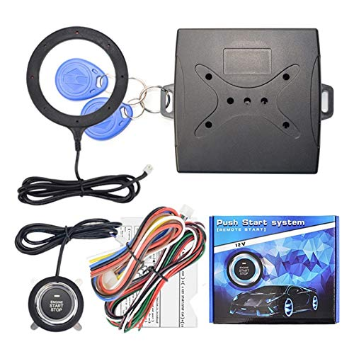 Story 12V Auto Coche Alarma One Start Detener Botón Motor Motor Pulsador RFID Bloqueo Encienda el Interruptor de Encendido sin Llave Sistema antirrobito de entrante de Entrada (Color : with RFID)