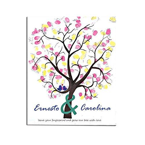 SwirlColor Romántica creativa de la huella digital de la boda Lienzo Firma el libro de visitas del árbol de amor para la boda (Con almohadilla de tinta)
