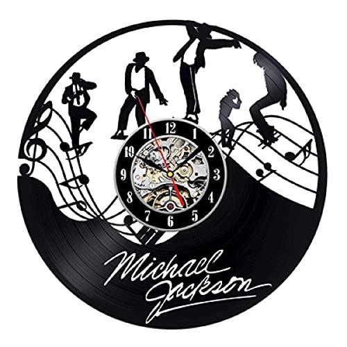 FANMUZIYU Reloj de Pared Diseño Moderno Tema Música Pegatinas 3D Pop Vinyl Record Reloj Wall Watch Decoración para el hogar Regalo para Hombre-no LED (Color : with Led)