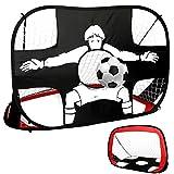 LRIO Portería de fútbol pop-up, plegable, 2 en 1, diseño portátil estándar o exclusivo, portería de fútbol para niños y adultos en el jardín, interior y exterior