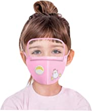 Children's Face Macks Washable Reusable Outdoor Face Bandanas Cute Pattern Dust Mouth Shield for Kids Boys Girls 儿童卡通印花户外防尘一体式安全可拆卸护目防护带阀 B 小鸡款