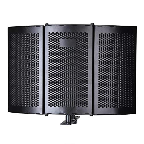 Micrófono de Estudio Plegable Escudo de Aislamiento Grabación Panel de Espuma Absorbente de Sonido Negro