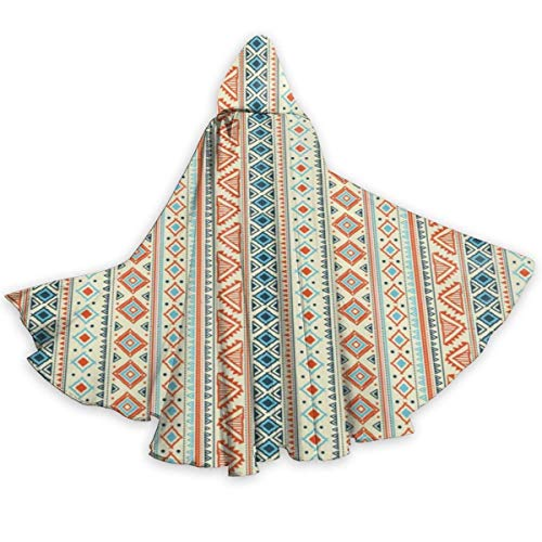 Adult Cape Cloak Tribal Ethnic Ornament African Geometrical Borders Unisex Magic Christmas Halloween Witch Party Hooded Vampires Wedding Cape Cloak