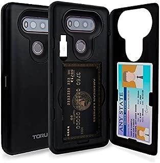 TORU CX PRO LG V20 Wallet Case with Hidden ID Slot Credit Card Holder Hard Cover, Mirror & USB Adapter for LG V20 - Matte Black