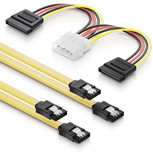 deleyCON 2X 0,5m Cables S-ATA 3 + 4 Pines a 2 Adaptadores de Alimentación SATA - Cable de Datos HDD SSD con Clip - 1 Enchufe Recto a 1 Enchufe Recto