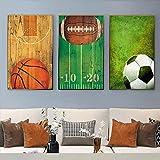CDERFV Ballon Sport Basketball Rugby Football Toile Peinture Imprimer Affiches Et Gravures Mur Art Photo Bébé Enfants Chambre Décor À La Maison-40x60cmx3 (Pas de Cadre)