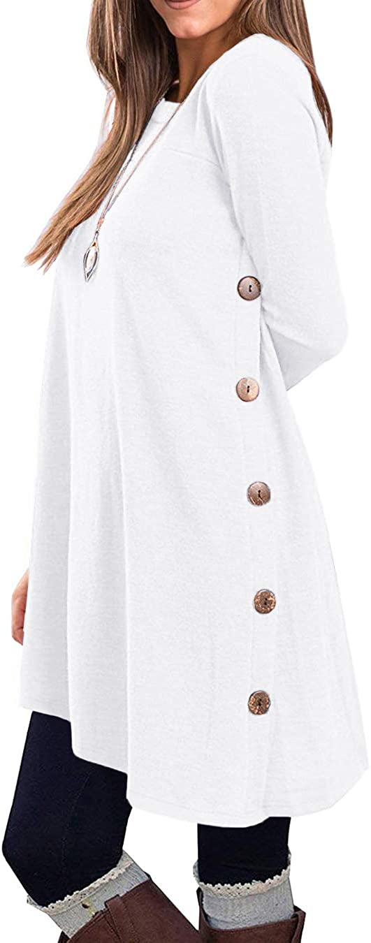 KORSIS Women's Daily bargain sale Long Sleeve Ranking TOP10 Round Neck Shirts Tunic T Button Side