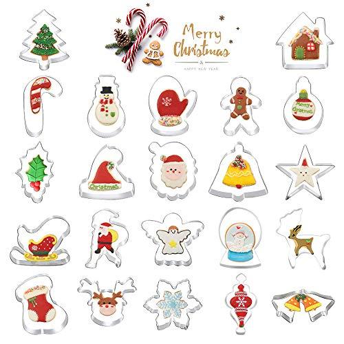 yotame Ausstechformen Weihnachten, 22 Stück Plätzchenausstecher Set Edelstahl Keksausstecher Ausstecher für Keks, Brot, Sandwiches, Käse, Plätzchen, Tortendekorationen