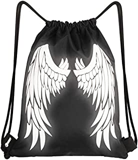 Reflective Angel Wings Drawstring Bag Black 13 IN X 16 IN Safety Sports Gym String Backpack with Zipper Pocket for Men/Boy and Women/Girls Gift