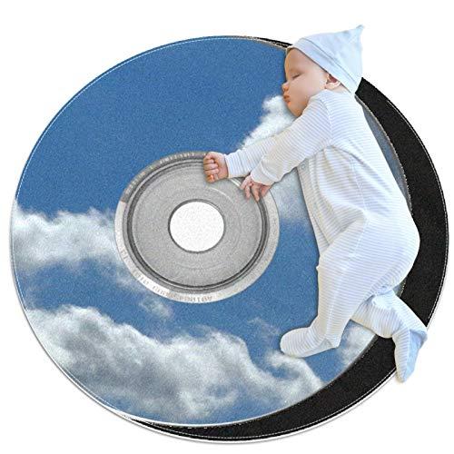 AIBILI Cd Dvd Clouds Sky Music - Alfombra redonda, lavable a máquina, para interiores y exteriores, para dormitorio, sala de estar, sala de juegos