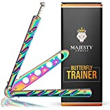 Majesty Forest Butterfly Trainer – Balisong Trainer en Rainbow Diseño con Libro electrónico para Aprender Trucos