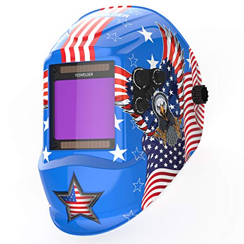 YESWELDER Large Viewing Screen True Color Solar Auto Darkening Welding Helmet,4 Arc Sensor Wide Shade 5/9-9/13 for TIG MIG Arc Weld Grinding Welder Mask LYG-M800H-B