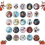 24 Bottoni Calendario dell'Avvento,Bottoni Numeri Natale,Numeri da 1 a 25 per Calendario Natalizio Fai da Te,Calendario dell'Avvento Bottoni Colorati,Natalizi Regalini Decorazione (A)