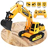 Excavator Toy 2.4GHz Remote Control Excavator, 11 Channel Fully Functional 1/20 Construction Vehicles Trucks with Rechargeable Battery Simulated Lights Sounds, Birthday for Kids
