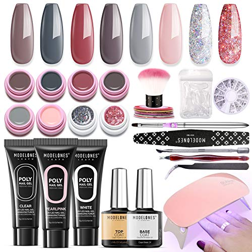 Poly Nail Gel Kit with Lamp Nail Extension Gel Kit by Modelones- 8 Colors Pot Gels + 3 Colors Polly Jell Nail Kit Gel Acrylic Nail Kit, ALL-IN-ONE French Salon Kit Gel Manicure Kit Nude Gray Series